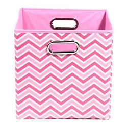 Modern Littles - Rose Zig Zag Folding Storage Bin - This colorful storage bin is perfect for any little girl's room. The playful motif draws the eye and she'll love organizing and storing her toys in it. Fits easily under a bed or crib.