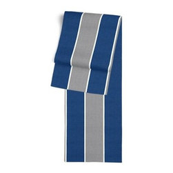 Blue & Grey Awning Stripe Custom Table Runner - Get ready to dine in style with your new Simple Table Runner. With clean rolled edges and hundreds of fabrics to choose from, it's the perfect centerpiece to the well set table. We love it in this wide outdoor awning stripe in nautical blue and gray. As perfect inside as poolside.