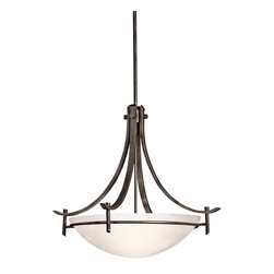 Kichler Lighting - Kichler Lighting 3278OZW Olympia Transitional Inverted Pendant Light - The Olympia Collection brings a modern twist on the classic aesthetic to create a new form the likes of which has not been seen before. The curvilinear, flowing arms of this pendants creates a clean, contemporary profile for your home. The Olde Bronze finish combined with Sunset Marble glass diffusers and shades present a natural color palate capable of matching any décor. For a simple approach, the Olympia Collection offers its unique look as an inspirational pendant. It uses a 3-light design that requires 150-watt (max.) bulbs to light the satin-etched white glass cover, creating a glowing bottom of light with chic sophistication.