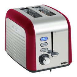 Metal Ware Corp. - Nesco 2 Slice Toaster Red - Nesco everyday two slice toaster with red finish looks sharp and comes loaded with features. Extra-wide slots automatically center before toasting. The selected function button will glow blue when in use. Set the tint level with the shade control dial and monitor with the Lift + Look lever without interrupting the toasting process. Slide out the crumb tray for quick and easy cleanup.