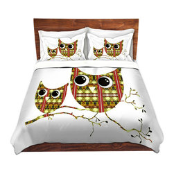 DiaNoche Designs - Duvet Cover Microfiber by Susie Kunzelman - Owl Suspenders Yellow - DiaNoche Designs works with artists from around the world to bring unique, artistic products to decorate all aspects of your home.  Super lightweight and extremely soft Premium Microfiber Duvet Cover (only) in sizes Twin, Queen, King.  Shams NOT included.  This duvet is designed to wash upon arrival for maximum softness.   Each duvet starts by looming the fabric and cutting to the size ordered.  The Image is printed and your Duvet Cover is meticulously sewn together with ties in each corner and a hidden zip closure.  All in the USA!!  Poly microfiber top and underside.  Dye Sublimation printing permanently adheres the ink to the material for long life and durability.  Machine Washable cold with light detergent and dry on low.  Product may vary slightly from image.  Shams not included.