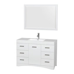 """Wyndham Collection(R) - Delray 48"""" Bathroom Vanity Set With Integrated Sink by Wyndham Collection - Glos - The Wyndham Collection is an entirely unique and innovative bath line. Sure to inspire imitators, the original Wyndham Collection sets new standards for design and construction.Sleek and fashion-forward, the Delray vanity is a unique expression of modern design and elegance, practical yet still a showpiece. Polished chrome door accents and modern luxuries like soft-close doors and drawers and a gorgeous white resin integrated sink bring the finishing touches to your new bathroom. Plenty of storage and counter space, easy cleaning, and serious """"wow"""" factor - this vanity has it all!Available in multiple finishes.FeaturesConstructed of the highest grade MDF, engineered for durability to prevent warping and last a lifetime8-stage preparation, painting and finishing processWater-resistant sealed finishUnique and striking contemporary designPractical Floor-Standing DesignMinimal assembly requiredDeep Doweled DrawersUnder-mount soft-close drawer slidesConcealed soft-close door hingesBacksplash not availableOne-piece acrylic-resin integrated sink(s)Integrated Square sink(s)Single-hole faucet mountFaucet(s) not includedMatching mirror(s) includedMetal exterior hardware with polished chrome finishOne (1) functional doorSix (6) functional drawersPlenty of storage spacePlenty of counter space2-Year Limited WarrantyHow to handle your counter View Spec SheetInstallation Guide"""