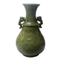 Golden Lotus - Chinese Green Crackle Ceramic Dragon Pattern Vase - Chinese Green Crackle Ceramic Dragon Pattern Vase