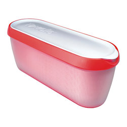 Tovolo Glide-A-Scoop Ice Cream Tub - Strawberry Sorbet - Finally  an Ice Cream Tub that neatly stores 1.5 quarts of homemade ice cream  gelato and sorbet.  The Tovolo Glide-A-Scoop ice cream tub features a non-slip base that steadies the container as you effortlessly scoop along the slender tub. Slim design to fit into any tightly packed freezer or freezer door!  Product Features      Extra long profile guides the perfect scoop   Non-slip base steadies tub while you scoop   Insulated tub stores compactly in freezer