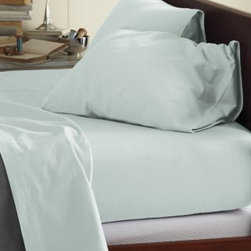 Garnet Hill - Garnet Hill Signature Flannel Comforter Cover - Double/Queen - Silver Green - This Signature Flannel bedding is crafted in Germany with a tighter weave than most flannels, making it weightier and more durable. It is gently brushed multiple times on each side until it meets our exacting standards for softness. Cases have an inner flap to conceal the pillow for a neater, more finished look. Our universal fitted sheet is elasticized all the way around for an easier fit. 12-inch pocket depth. Monogramming available.