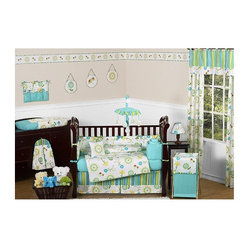 Sweet Jojo Designs - Layla Collection 9pc Crib Bedding Set - Layla 9 piece Crib Bedding set has all that your little bundle of joy will need. Let the little one in your home settle down to sleep in this incredible nursery set. Features: -Set includes crib blanket, bumper, fitted sheet, skirt, 2 window valances, diaper stacker, toy bag and pillow. -Layla collection. -Stylish color pallete of turquoise, lime green, yellow, hot pink and white. -Material: 100% cotton. -Stunning floral print and a coordinating designer stripe. -Coordinating accessories including sheets, wall dcor, window treatments and more. -Stunning floral print and a coordinating designer stripe. -Fit all cribs and toddler beds. -Machine washable and dryable.