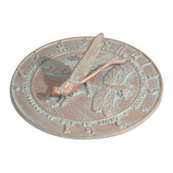 Whitehall Products LLC - Dragonfly Sundial - Copper Verdi - Features: