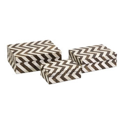 """IMAX - Zig Zag Bone Inlay Boxes - Set of 3 - A set ofeethr  small decorative boxes made with bone inlay make the perfect desk, shelf or vanity accessory. White bone inlay with brown chevron pattern gives these boxes a simple decorative appeal. For a coordinated look, display with the Zig Zag bone inlay photo frames.  Item Dimensions: (2-2.5-3""""h x 4-5.25-6.5""""w x 6-7.25-8.5"""")"""