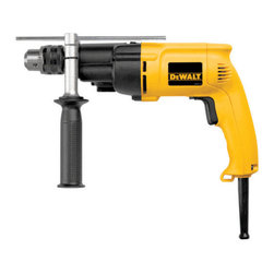 """Dewalt - 1/2In Reversible Hammer Drill - High/low gear for high speed drilling, or high toque applications. Dual mode for hammerdrill/drill used  in wood, steel or masonry applications. Features two finger, rubber trigger. Specs: 6500W max watts out, 0-1,200/0-2,700rpm no load speed, 0-19,000/0-  46,000bpm, capacity in: optimum- 5/32- 3/8"""", steel- 1-1/2"""", wood- 1/2"""" and weighs 4.8lbs. Includes 360-degree locking side handle, steel depth rod, chuck key with holder and kit box.        This item cannot be shipped to APO/FPO addresses.  Please accept our apologies"""