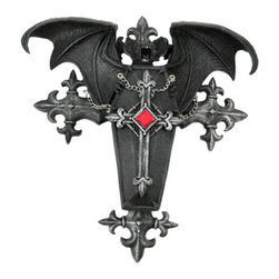 Zeckos - Gothic Vampire Bat / Coffin Wall Hanging Anne Stokes - This cool wall hanging features an evil looking vampire bat atop a Gothic coffin. The coffin lid comes off, revealing a hidden stash area 4 inches by 1 inch by one inch. It's a great place to keep car keys or extra cash. Crafted of cold cast resin, it has a black and gray enamel finish to give it a creepy, Gothic look. It is 9 1/2 inches tall, 9 inches wide and 2 1/2 inches deep.