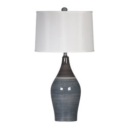 "Signature Design by Ashley - 28"" Set of 2 Niobe Table Lamps Gray L123884 - A set of two contemporary gray table lamps from Famous Brand Lighting"