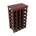 24 Bottle Kitchen Wine Rack in Redwood with Cherry Stain + Satin Finish - Petite but strong, this small wine rack is the best choice for converting tiny areas into big wine storage. The solid wood top excels as a table for wine accessories, small plants, or whatever benefits the location. Store 2 cases of wine in a space smaller than most televisions!