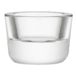 Finn Candleholder - Simple molded glass cradles candlelight in a clean cup of pressed glass. A go-to decoration year-round, alone or in multiples.