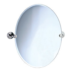 """Lamps Plus - Contemporary Gatco Marina Chrome Finish Oval 32"""" High Tilt Wall Mirror - An excellent addition to a bathroom sink or vanity this oval mirror design has a beveled edge and comes with solid brass mounting brackets in a polished chrome finish. Tilting wall mirror. Polished chrome finish. Solid brass mounting brackets. Beveled oval mirror. Mirror glass only is 32"""" high 24"""" wide. 32"""" high. 28 1/2"""" wide. 2 1/2"""" deep.  Tilting wall mirror.  Solid brass mounting brackets.   Beveled oval mirror.   Mirror glass only is 32"""" high 24"""" wide.  32"""" high.   28 1/2"""" wide.   2 1/2"""" deep.  Weighs 15 1/2 lbs."""
