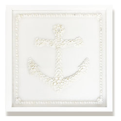 Kathy Kuo Home - Kauai Coastal Beach White Shell Anchor Wall Decor - by Karen Robertson - The old shell game. While this charming anchor wall art definitely comes with a certain vintage charm, it's all perfectly above board. Each image is created entirely of hundreds of shells, and no matter which style you choose the end result is the same: A winning look for your walls.