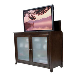 """Tuscany TV Lift Cabinet For Flat Screen TV's Up To 55"""" - Based on the distinctive design of our Brookside and Longmont units, the Tuscany offers the very same TV lift technologies outfitted in a classy burnished espresso. Its deep brown tone will instantly become the focal point of any room. Like the Brookside and Longmont Pop Up TV Cabinets, the Tuscany does not require an remote repeater thanks to the frosted glass doors. The Tuscany also has a touch sensor light behind the glass on the doors, which can be turned on or off by touching the right side door hinges. The cabinet is equipped with sliding rear panels for easy access to your TV connections."""
