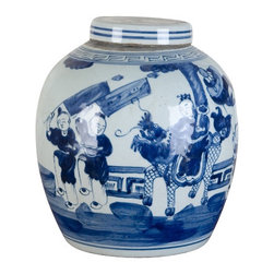Oriental Danny - Blue and white porcelain lidded jar - Blue and white porcelain lidded jar is designed with children playing. Deep rich blue color. Great for decoration