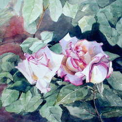 """""""Roses On A Bed Of Leaves"""" (Original) By Greta Corens - I Found This Rose Bush In A Garden In Rome, Italy."""