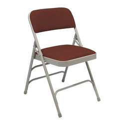 """National Public Seating - Premium Triple Brace 29.5 in. Folding Chair - Scotchguard treated fabric covers thick padding on this comfortable chair.  Triple brace support is made from eighteen gauge steel, and """"v"""" shaped plugs on the back legs add to the stability of the seat.  The double hinged sides are durable to stand up to abuse.  Four color combinations are available.  These premium folding chairs offer all of the support as well as the comfort that one might expect from a folding chair. * Set of 4. Upholstered seat and back. Unique full size double contoured back and waterfall seat. 18-gauge steel tubing. Three U-shaped double riveted cross braces. V-shaped stability plugs. Double hinges on side for added stability and durability. Scotch guarded fabric is rated to 30000 double rubs. Steel contain 30-40% of post-consumer waste (recycled). Cal 117 rated fabric and foam. Meets ANSI and BIFMA standards. Warranty: Five years for material. Weight capacity: 480 lbs.. 18.75 in. W x 20.75 in. D x 29.5 in. H"""