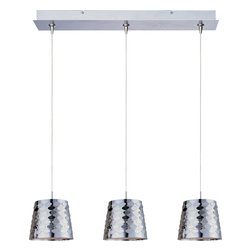 ET2 Lighting - Minx 3-Light Linear Pendant - Could your kitchen use a little sex appeal? These glass pendants have a bold, sexy nickel finish, so they gleam with the lights on or off. Hang them over a kitchen island or a small intimate dining table and wait for it!