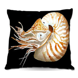DiaNoche Designs - Pillow Woven Poplin from DiaNoche Designs by Marley Ungaro - Deep Sea Life- Naut - Toss this decorative pillow on any bed, sofa or chair, and add personality to your chic and stylish decor. Lay your head against your new art and relax! Made of woven Poly-Poplin.  Includes a cushy supportive pillow insert, zipped inside. Dye Sublimation printing adheres the ink to the material for long life and durability. Double Sided Print, Machine Washable, Product may vary slightly from image.