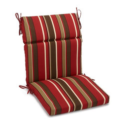 Blazing Needles - Blazing Needles 42-inch by 20-inch Patterned Outdoor Spun Poly Three-Section Sea - Add comfort and a touch of style to your outdoor furnishings with the Blazing Needles 42x20-inch three-section seat/back chair cushion. These cushions feature fifteen beautiful variations of 100-percent spun polyester fabric.
