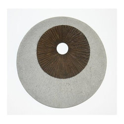 """2 ROUND DOUBLE LAYER WALL DECOR, RIBBED FINISH, 14"""" X 2.2"""" - The Sandstone Circle Design Wall Art - Set of 2 brings a relaxing accent to any wall in your home. You don't need an extensive art history background to appreciate the simple spiral Modern and Contemporary design on this round wall art. Made from fine-polished sandstone, the set of two wall decor pieces is available in three different sizes to suit your space requirements. Small: 14-inch diameter. Medium: 19-inch diameter. Large: 28-inch diameter."""