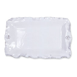 Abigails - Fleur de Lis Rectangle Platter - A nice size handmade ceramic piece which is not only a nice serving piece but also handsome with just a few lemons.  Guaranteed to impress.  Made in Italy.  Dishwasher & Oven Safe