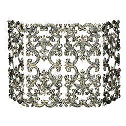 UniFlame - 4 Fold Antique Gold Cast Aluminum Screen - Series:  Antique Gold