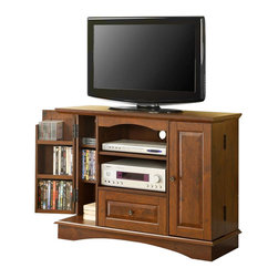 """Walker Edison - Walker Edison 42 Inch Bedroom TV Console with Media Storage in Brown - Walker Edison - TV Stands - WQ42BC3TB - With its added height this sturdy wood TV console is an ideal piece for the bedroom. The elegant beveled panels and rich natural wood color give a traditional feel. Console will accomodate most flat-screen TV's up to 50"""""""". The drawer adjustable shelf and extra door storage provide ample room for all of your entertainment needs. Features:"""