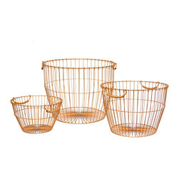 Copper Basket Family - Set of 3 - Inspire your room with this darling set of three baskets in small, medium and large. Store magazines, firewood, yarn, blankets, and more in elegant copper glow.