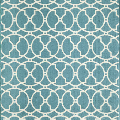 None - Moroccan Tile Blue Indoor/ Outdoor Rug (8'6 x 13') - A bold and exciting geometric pattern design allows trend-conscious customers to create their ultimate indoor/outdoor oasis. This abiding rug offers a simple color palette with a refreshing twist of runway fashion.