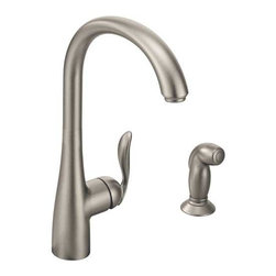 Moen Incorporated - One-Handle High Arc Kit Faucet - Single, lever style handle design. Single hole to four hole application. Includes side spray. Spot resistant stainless finish. 2. 0 GPM.