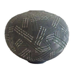 Pre-owned Art Deco Unglazed Ceramic Vase - An Art Deco steel grey unglazed ceramic vase with hashed line markings in green and white. This vase looks perfect on its own, but with its interesting matte finish paired with the textural hash marks it would add excellent dimension in a grouping.