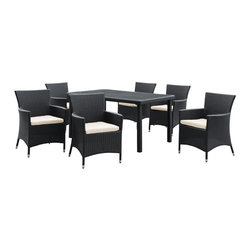 Modway - Modway EEI-984 Deco 7 Piece Dining Set in Espresso White - Highly eclectic and visually assertive, Deco is a set built on bold lines and form. Symbolic of luxury, glamour and exuberance, the Art Deco period of the 20s and 30s embraced modern advances while crafting shapes in ornately transformative ways. True to the movement that bears its name, Deco is a set brimming with the urban, technological edginess of its predecessor. A refreshing piece for the progressive minded, Deco is comprised of UV resistant rattan, a powder-coated aluminum frame and all-weather cushions. The set is perfect for cafes, restaurants, patios, pool areas, hotels, resorts and other outdoor spaces.