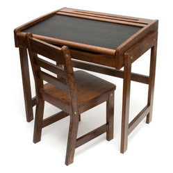 Kids Desk with Chalkboard Top and Chair, Walnut