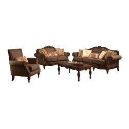 """Acme - 2-Piece Archaise Collection Amber Chenille Fabric Sofa and Love Seat Set - 2-Piece Archaise collection amber chenille fabric upholstered with decorative wood with nail head trim sofa and love seat set. This set includes the sofa and love seat with padded backs and throw pillows, with carved accents and nail head trim. Sofa measures 92"""" x 36"""" x 42"""" H. Love seat measures 69"""" x 36"""" x 42"""" H. Chair also available separately at additional cost. Some assembly may be required."""