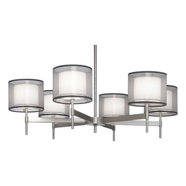 Saturnia Chandelier by Robert Abbey - Saturnia chandelier features a bronze or silver transparent fabric exterior shade with an ascot white fabric interior shade. Silver transparent fabric exterior shade features a stainless steel finish. Bronze transparent fabric exterior features a deep patina bronze finish. Available in a wall sconce, ceiling flush mount, table lamp, floor lamp, pendant and chandelier version. Direct wire only. Includes suspension hardware of 3 pieces of 0.63 x 12 inches, and 1 piece of 0.63 x 6 inch extension rods. Six 60 watt, 120 volt, G16.5 candelabra base incandescent lamps not included. General light distribution. Overall height adjusts 21.51 inches. 40W x 12.25H.