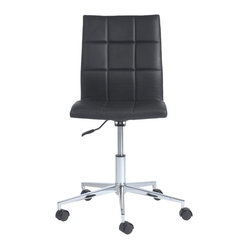 Cyd Office Chair-Black - Roll out this sleek office chair to conduct your business in style. The seamless design allows you to easily maneuver around, plus when the day is done, you can keep the chair flush under the desktop, creating a neater workstation.