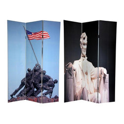 Oriental Furniture - 6 ft. Tall Double Sided Memorial Canvas Room Divider - Lincoln/Iwo Jima - Salute the Red, White and Blue with this pair of timeless photographs close to the heart of every United States citizen, regardless of race, creed, or political party. On the front is the famous statue of U.S. Marines raising Old Glory on Mt. Suribachi from the Iwo Jima Memorial, based on the iconic Raising the Flag on Iwo Jima, circa 1945, by Joe Rosenthal. The back side features a photo print of the Lincoln Memorial, which depicts a pensive Honest Abe after signing the Emancipation Proclamation. These striking images invoke the sacrifices made to secure our liberty, and will provide beautiful, decorative accent for your clubhouse, family entertainment room, living room or bedroom. This three panel screen has different images on each side, as shown.