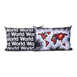 "Cartoloji - World Map Pillow, Charcoal - The pillow features an abstract map of the world on the front and the text ""World"" on the reverse. Pillow cover is made from 100%  certified organic cotton sateen and is printed with eco-friendly inks. Pillow insert is a non-allergenic faux-down poly-fill. Pillow dimensions: 12"" x 18"". Hand wash or dry clean. Made in the USA. Listing is for 1 double sided pillow."