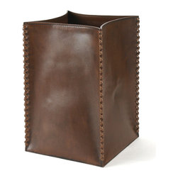 Pfeifer Studio - Leather Waste Bin - Our brown leather waste bin is of our best selling styles. It has a hidden steel rod frame over which the leather is tightly stretched. It features hand worked leather lacing at each corner. Our leather accessories are crafted by artisans and have a hand made feel, distinguishing them from mass-produced styles. The leathers are tanned naturally, a process which does not hide the inherent characteristics of the skins, instead enhancing their unique beauty.