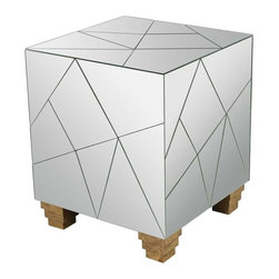 Lazy Susan - Lazy Susan Mosaic Cube Foot Stool - This small mirrored cube is the perfect accent to add a little glamour to a space. The asymmetrical mirror pieces fit together creating a geometric puzzle-like face on every side. The design is completed with deco style feet that are finished in a radiant gold leaf. Originating in Japan in 1981 Lazy Susan is an innovative furniture and home accessories company. With a clean and simple design aesthetic the company is focused on creating curated eclectic home collections. Inventively mixing modern and traditional design elements every piece is unique and beautiful with a foundation in classic design styles. Each season Lazy Susan incorporates current trends with inviting color palettes to create beautiful collections that inspire and behold. During the design and development process they strive to create pieces that blend effortlessly with personal heirlooms arrange comfortably in collection groups as well as stand alone as room defining focal points. Their goal is to develop collections that compliment living spaces and express personal style. Artisans from around the globe are an integral part of bringing the Lazy Susan collections to life. Working with local craftsmen provides the unique opportunity to find and mix eco-friendly regional natural resources into the product collections. Uncommon materials pairings help create visually exciting and stimulating pieces with strong roots in the natural beauty of organics. Commitment to design excellence and creative originality has allowed Lazy Susan to build relationships with many of the hottest home accessory and furniture retailers across the United States. Premier domestic and international hotels resorts event designers and television programs come to Lazy Susan for distinctive pieces on the leading edge of style and trends. On November 1 2013 ELK GROUP International a premier designer and importer of lighting fixtures decorative accessories and furniture acquired Lazy Susan. Through a combination of vast distribution networks they now function as a single source provider for a variety of furnishing categories. The fully integrated New York City based design team is focusing on all aspects of the creative process. From inspiration to design the team strives to develop products with uncompromising detail while ensuring each item is crafted to exceptionally high standards of quality innovation and design. Features include Handcrafted Gold Leaf Finish. Specifications Finish: Mirror Gold Accents Material: Mirror Wood.