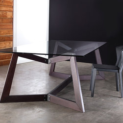 Argyll Dining Table Base - Argyll dining table base features geometric shaped wood frame with matching metal connections. Glass top not included. Supports glass top measuring between 94-118 length by 47 wide. Measures 87 x 47 x 29. Seats 10-12 guests. Available in multiple colors. Made in Brazil. Imported.