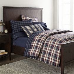 "Lauren Ralph Lauren - Lauren Ralph Lauren Full/Queen Quilt, 90"" x 90"" - All-cotton ""Wyatt"" bed linens sport classic plaid and stripe patterns. Red and navy plaid, yarn-dyed comforters have a navy and cream windowpane reverse. Twin comforter set includes 66"" x 86"" comforter and one matching standard sham. Full/queen comfor..."