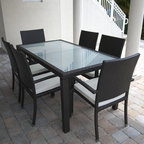 Caribbean Collection of Outdoor Wicker Table and Chairs - The Caribbean Collection has three sizes of glass top tables and matching dining chairs.