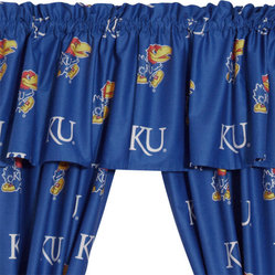 Store51 LLC - NCAA Kansas Jayhawks Collegiate Blue Drape Valance Set - FEATURES: