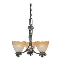 Designers Fountain - Designers Fountain 95683-OB 3-Light Chandelier - Old Bronze Finish, Sculpted Ochere Luster Glass/Shade Rustic charm with soft contemporary lines allows you to feel a sense of the outdoors.