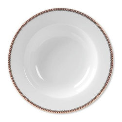 """PIP Home - Set of 6 White 8"""" Soup Plates by PIP Home - Crisp white soup plates subtly bordered with a small red and white check pattern. A dainty gold scalloped design lines the inner border. Use this with any of our coordinating dishes from PIP Home or your own existing plates. A classic staple that allows you to change your seasonal tables cape with decorative accessory dishes. High grade porcelain is not dishwasher or microwave safe. Set of 6. (PH)"""