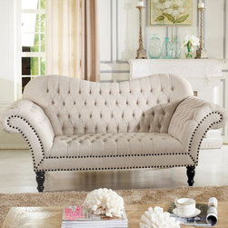 "Baxton Studio - Baxton Studio Bostwick Beige Linen Classic Victorian Loveseat - Fanciful with ornate detail, lovers of all things tufted and feminine will fall for the Bostwick Loveseat's old-world appeal. Updated with simple beige linen rather than obsolete richly-colored brocade, this loveseat is perfect for the modern home. Made by and imported from Chinese craftsmen, the Bostwick Loveseat includes a frame made of birch and engineered woods, firm foam cushioning, and black turned wood legs. Gorgeous detailing is plentiful: button tufting, scroll arms, and antiqued bronze nail head trim make this a living room seating collection not to be missed. Keep your new furniture looking fresh as ever by spot cleaning the upholstery as needed. Minor assembly is required. Complete the Bostwick Collection by adding the matching sofa to your home as well (sold separately). 83""W x 37.5""D x 40.5""H , seat dimension: 47""W x 22.75""D x 19""H arm height: 31.5 inches"